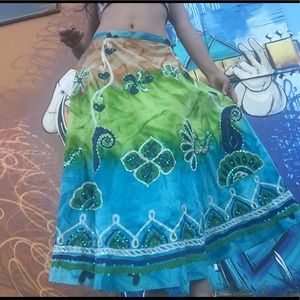 HP❤️Jasmine KC skirt M peacock blue long gypsy